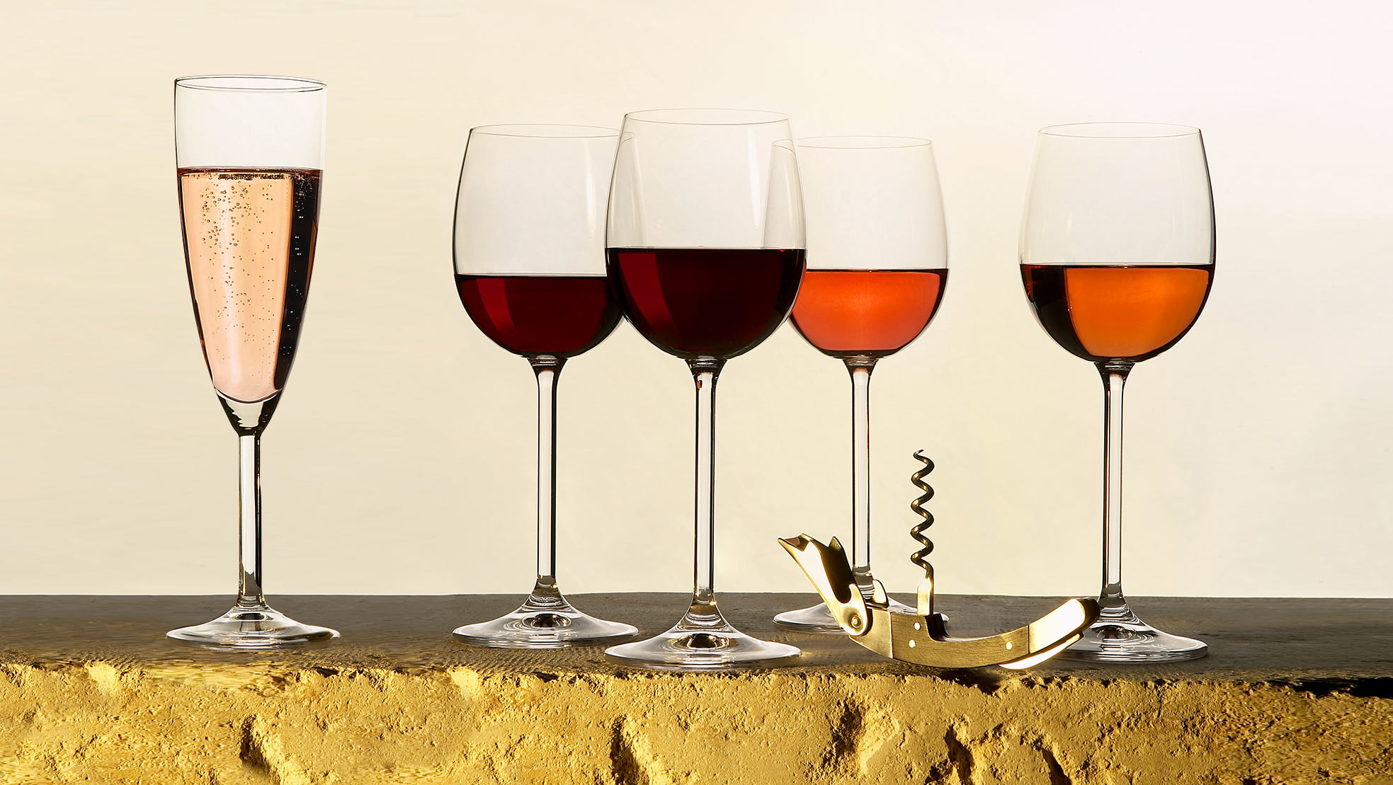 Verres de vins rouges et rosés de Loire