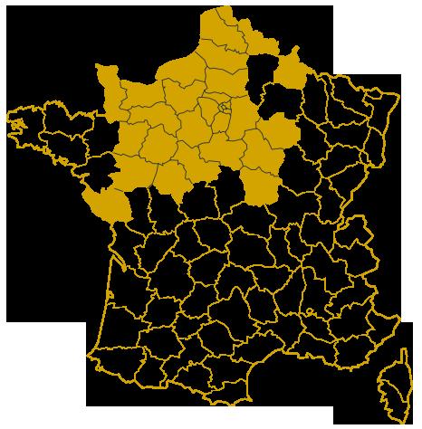 Carte des différents départements de livraison effectué par le domaine viticole de la Gerfaudrie